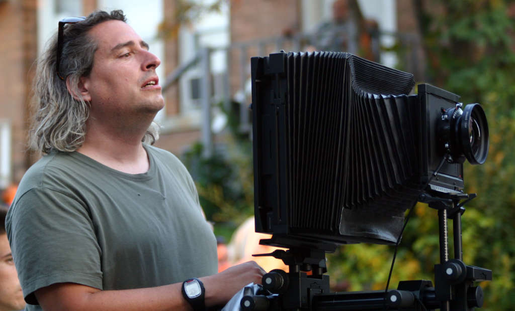 Gregory Crewdson lining up a shot in his Hasselblad Sinar 8x10 large format camera.