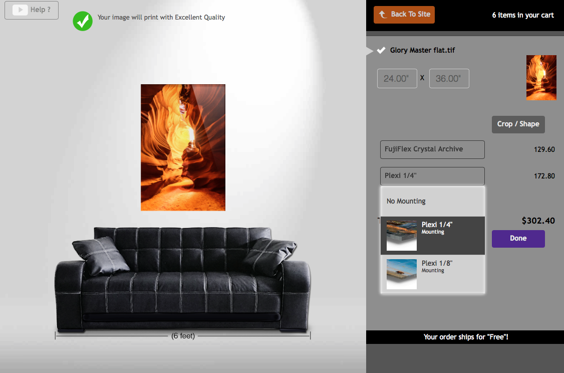 Displaying museum back print Step 2 for custom printing online