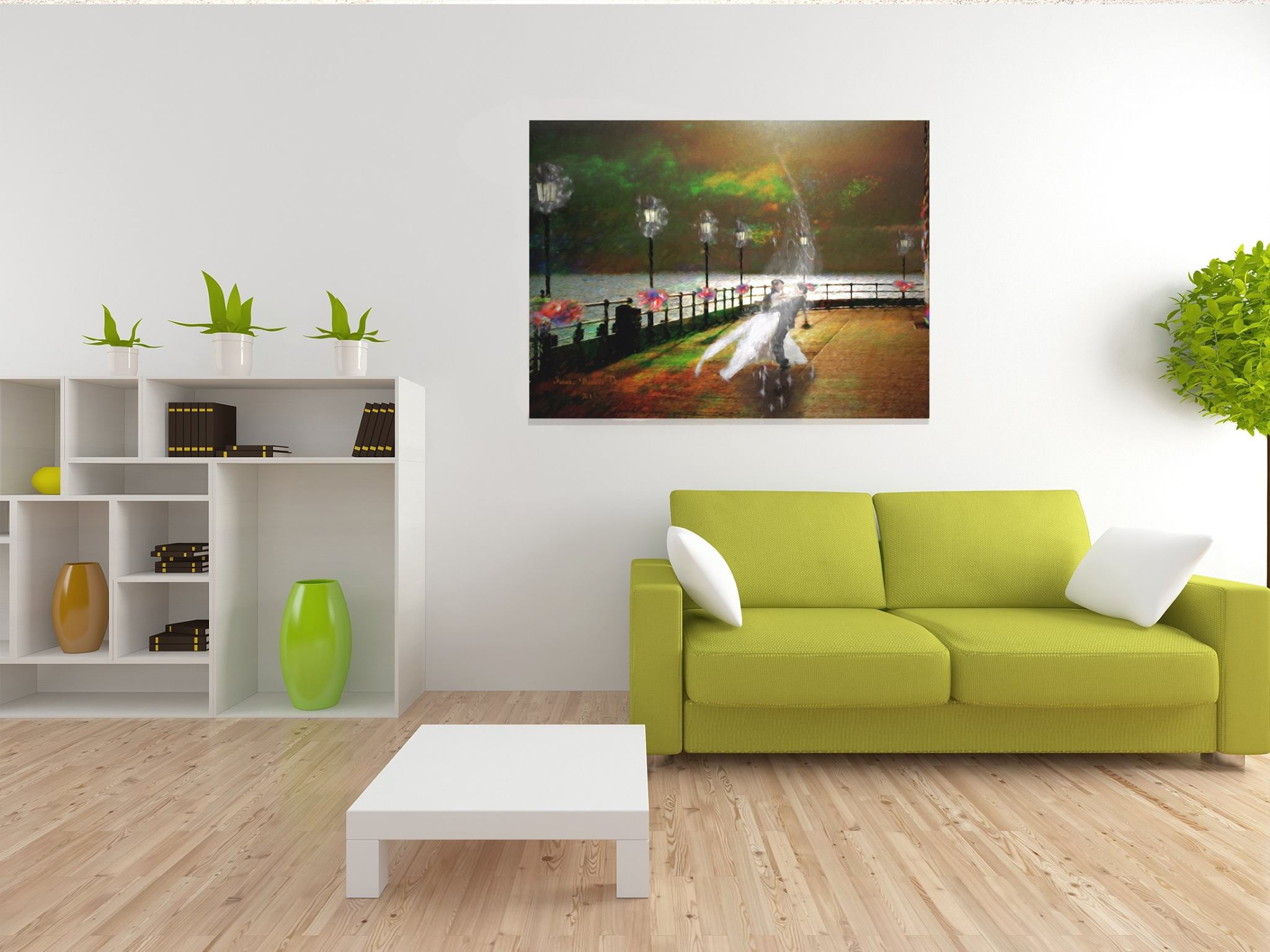 ArtBoja Green Living Room showcasing Custom Art Decor Prints