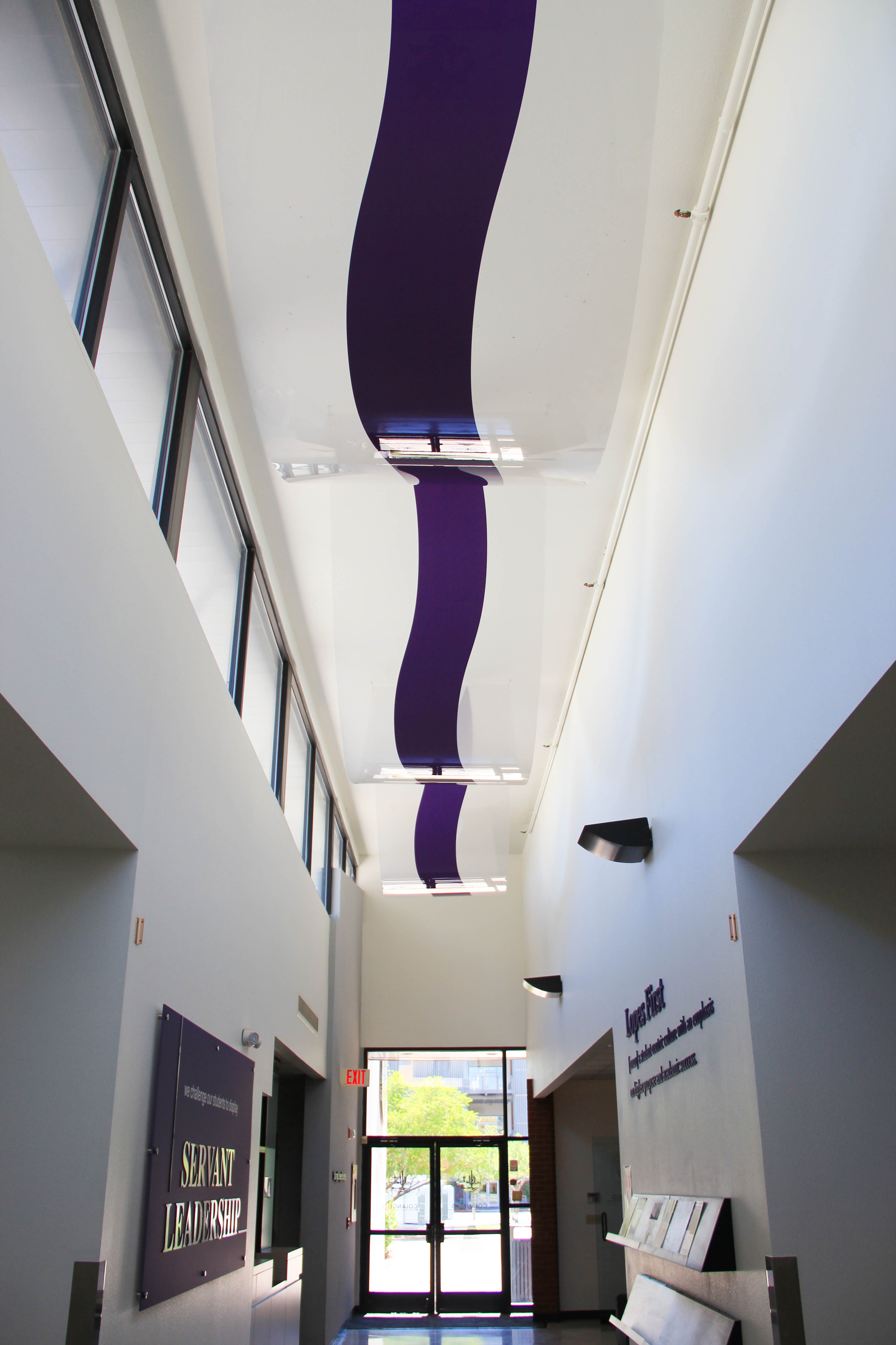 custom environmental graphics on GCU ceiling