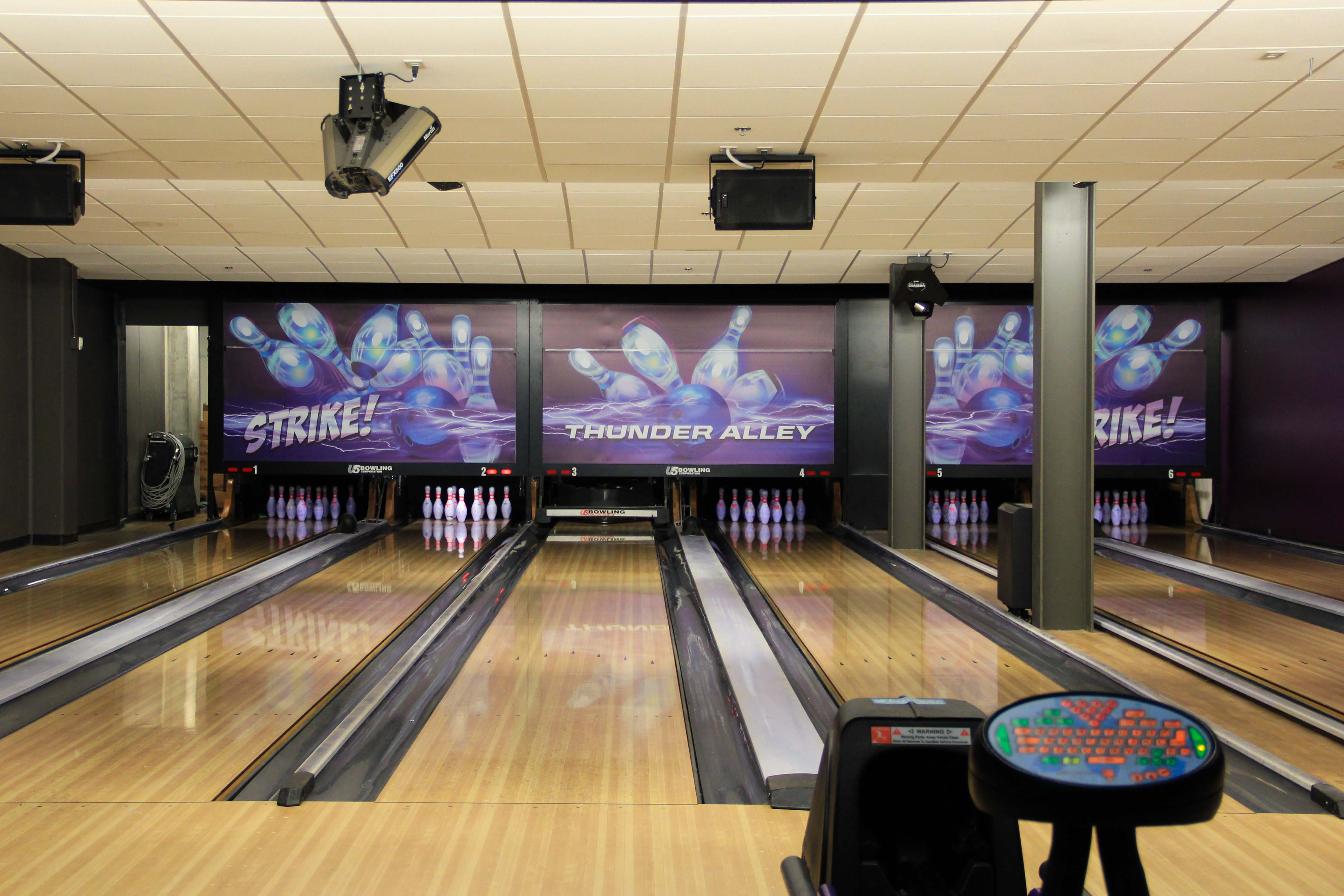 environmental graphics on display in GCU bowling alley