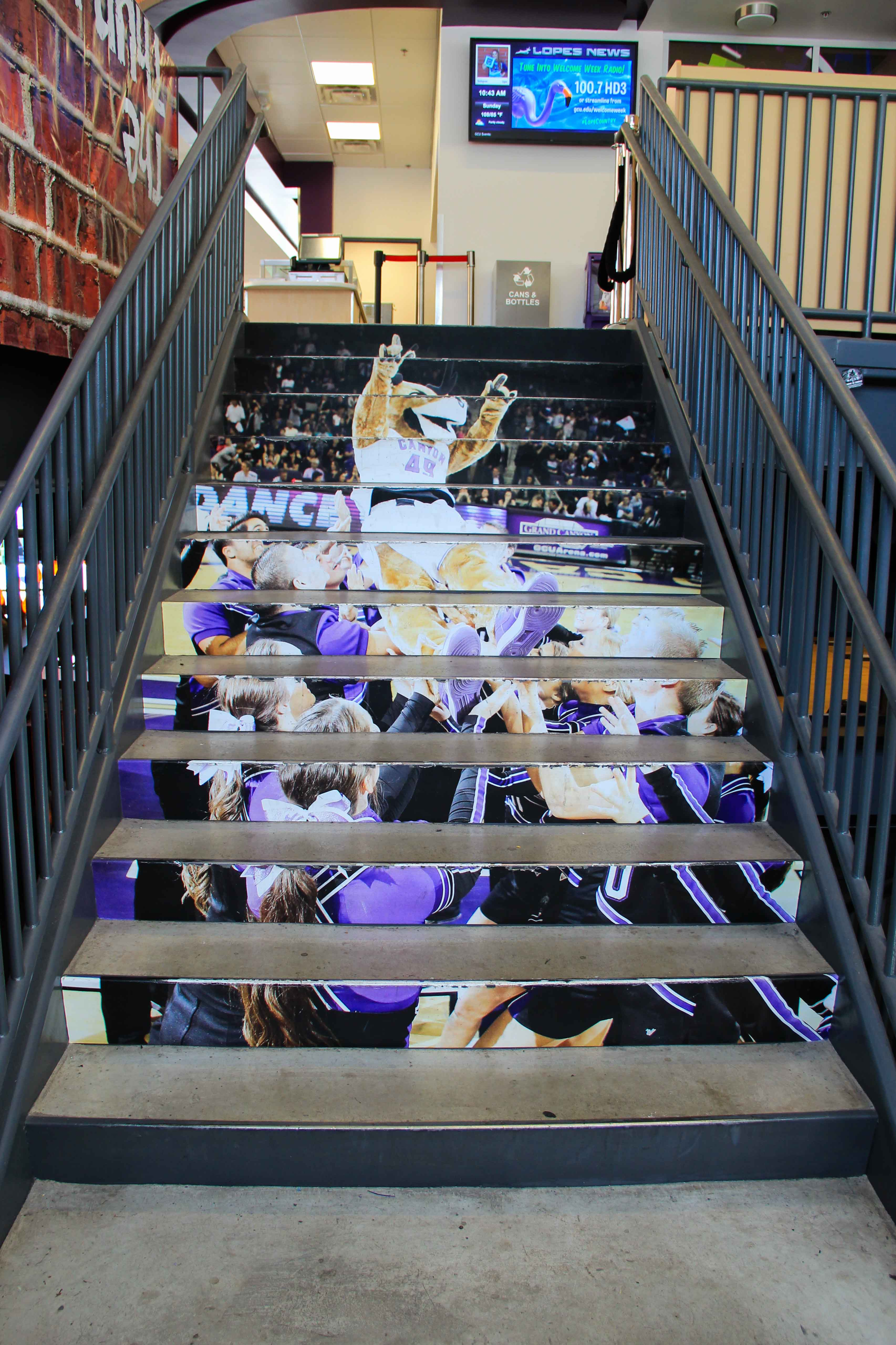 Environmental graphics on stairs at GCU