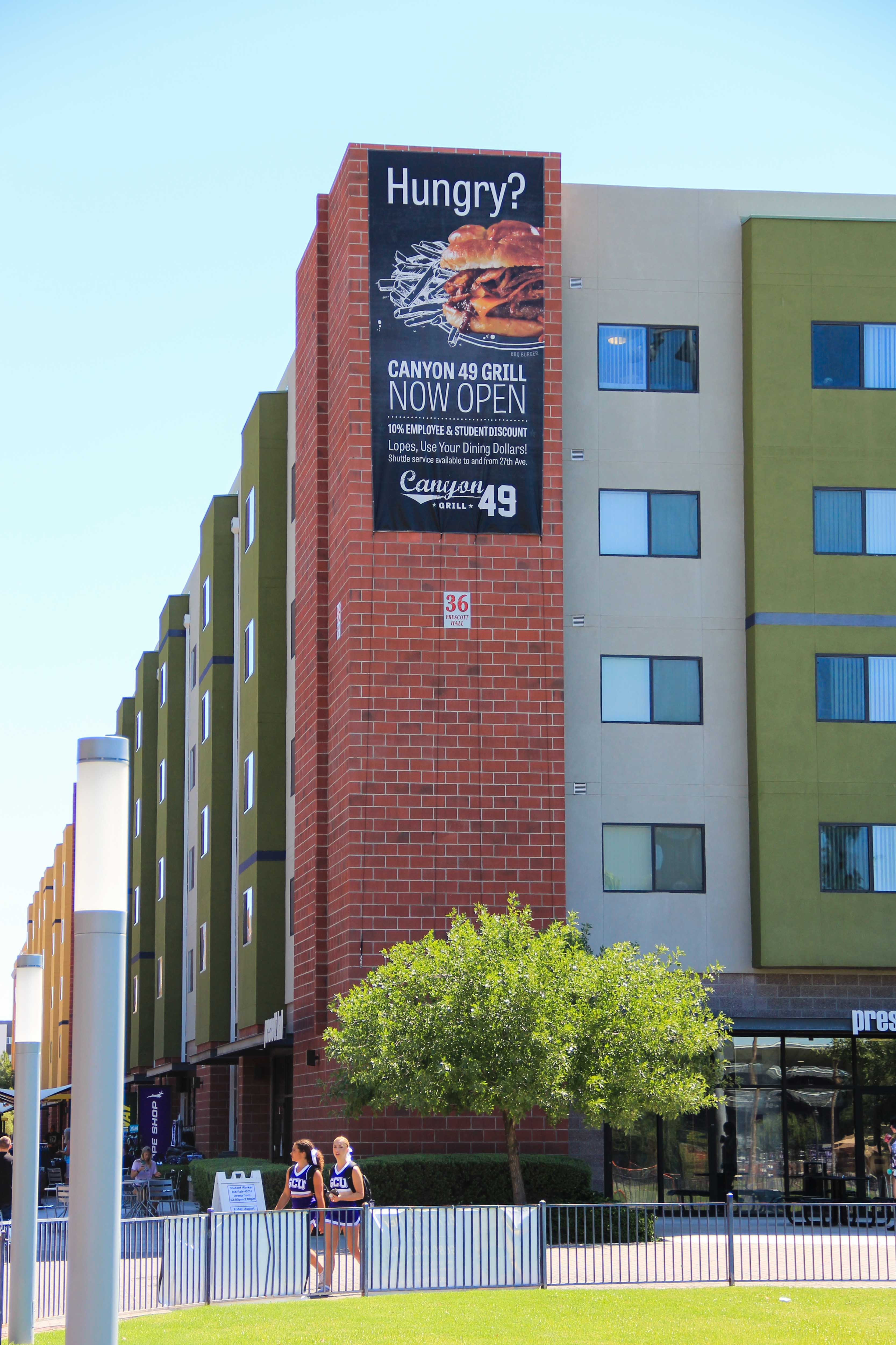 GCR Environmental Graphics banner on building side