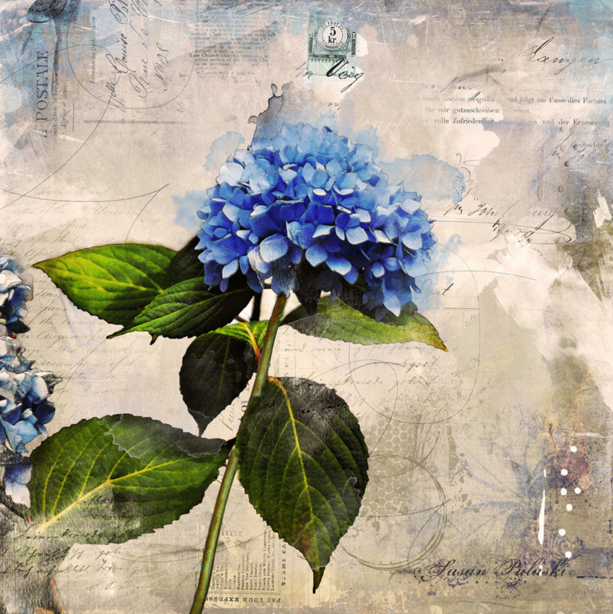 custom print decor blue flower artboja