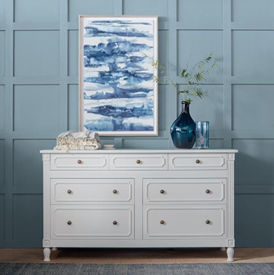custom print decor blue cabinet