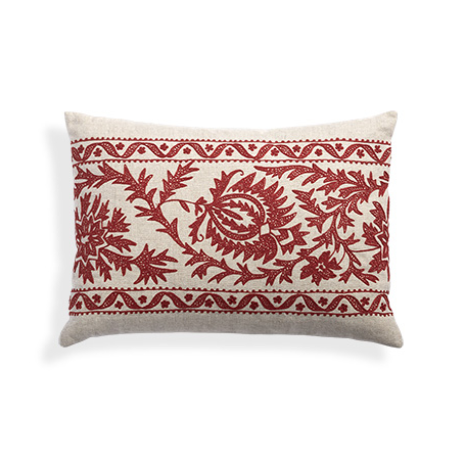 custom print decor red pillow