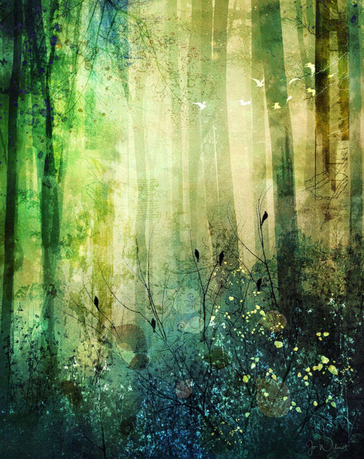 custom print decor green forest artboja