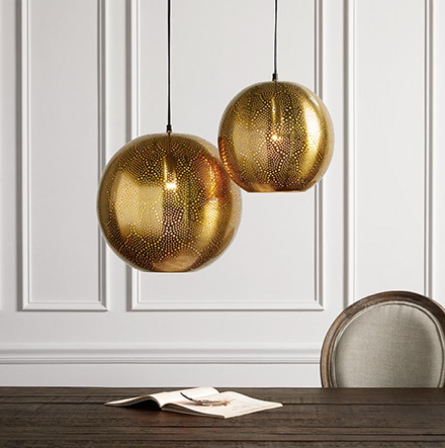 custom print decor gold globe lamp