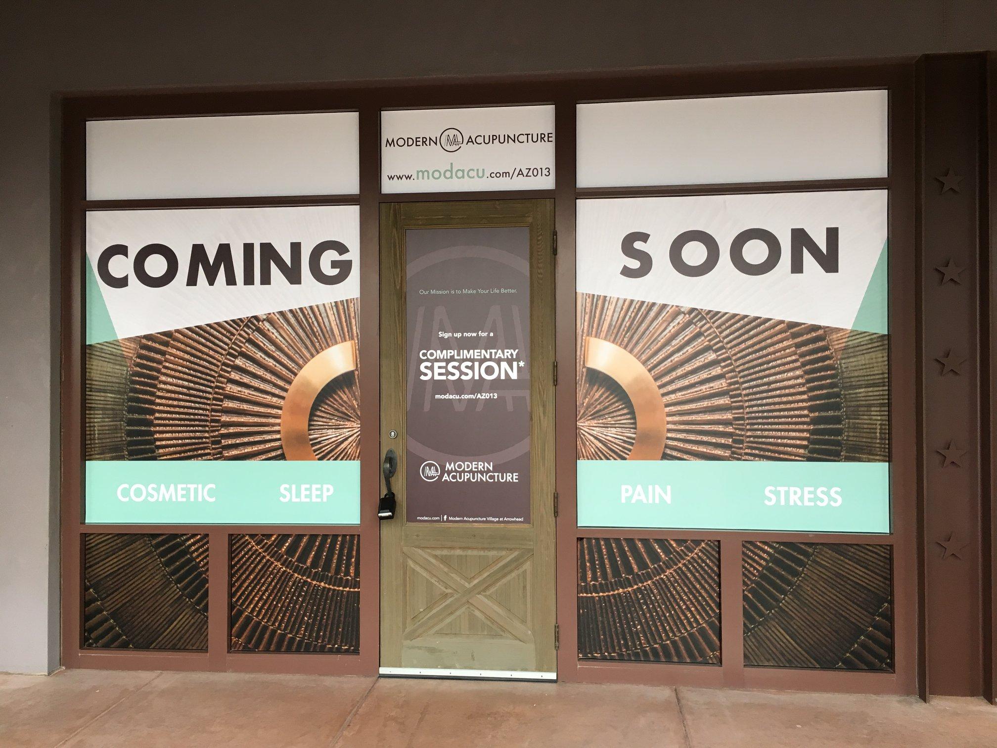 Modern Acupuncture Coming Soon Custom Window Wrap