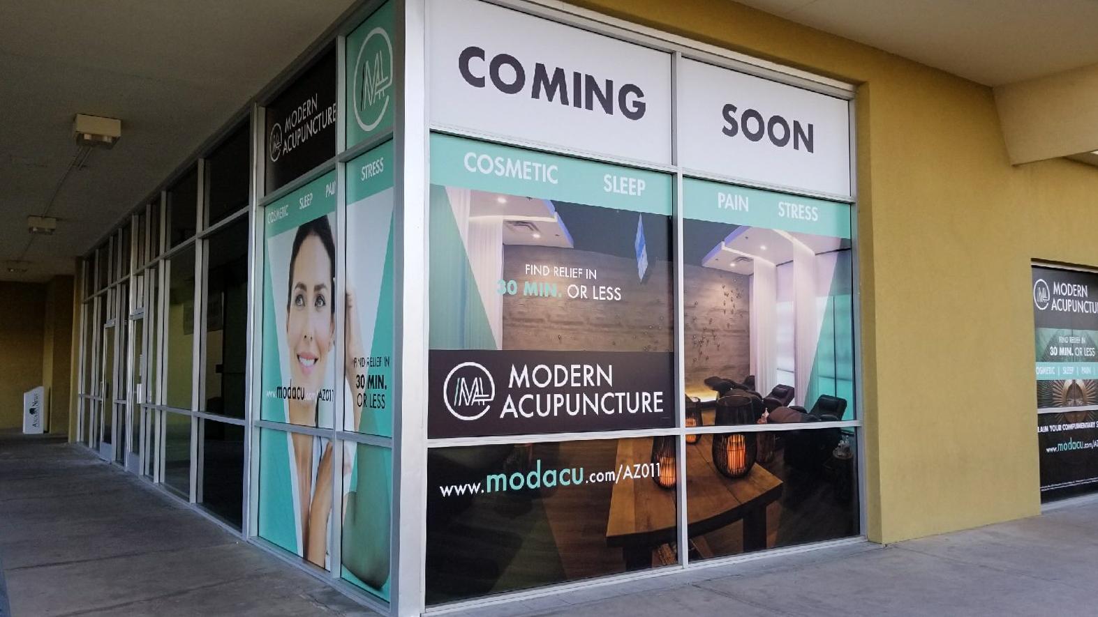 Modern Acupuncture Custom Window Wraps installed on the Corner