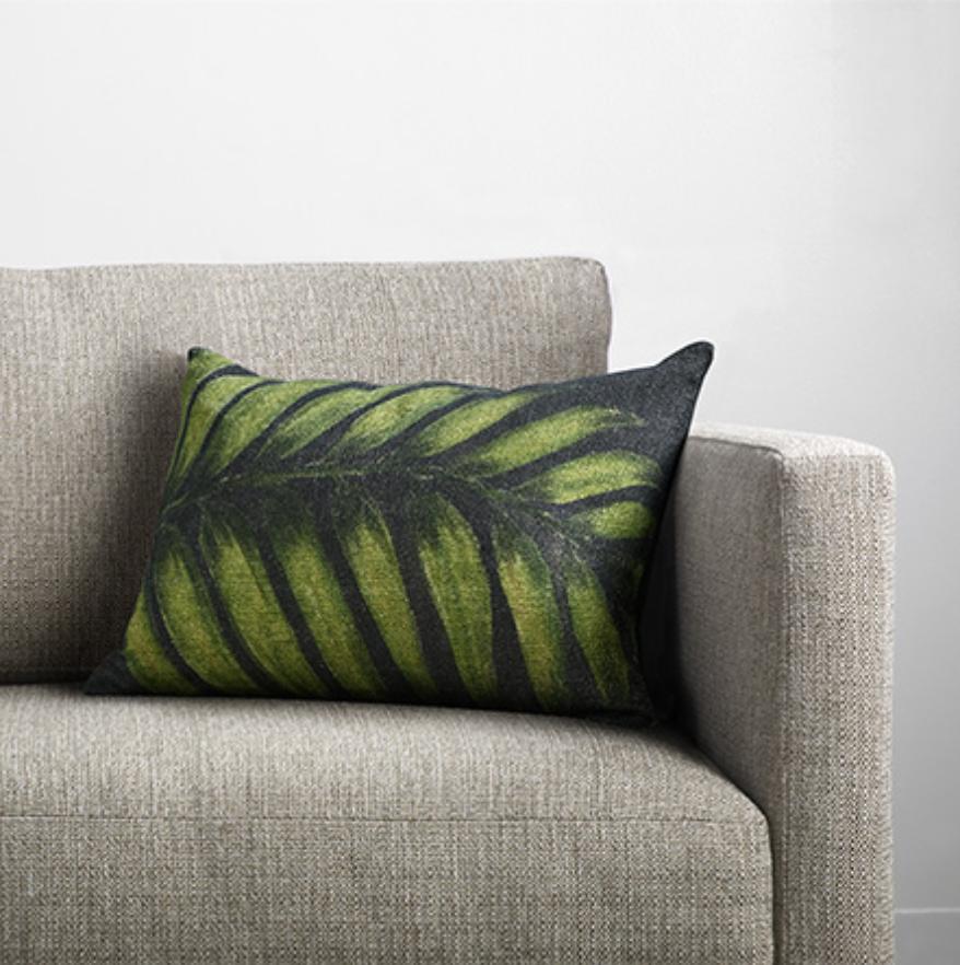 custom print decor green leaf pillow