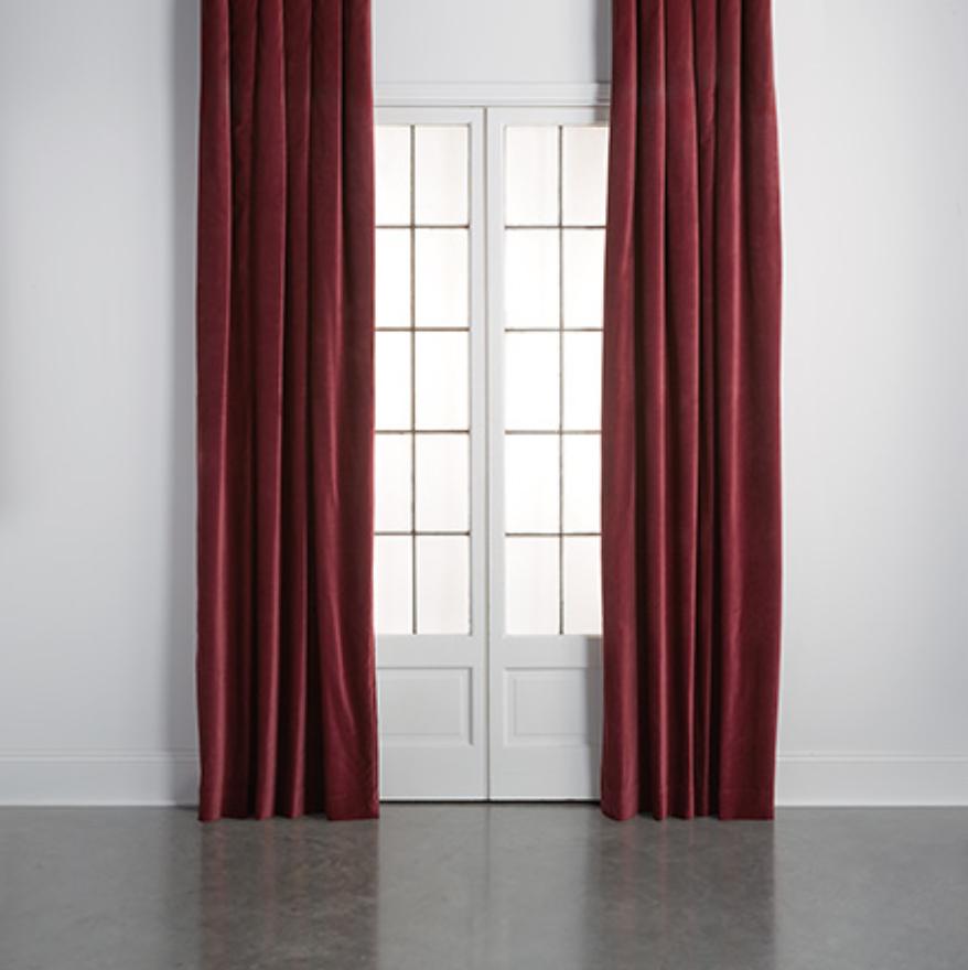 custom print decor red drapes