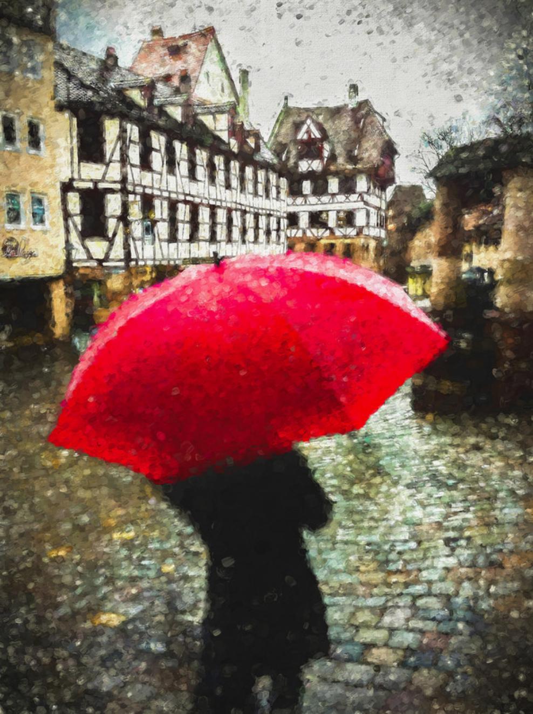 custom print decor red umbrella artboja
