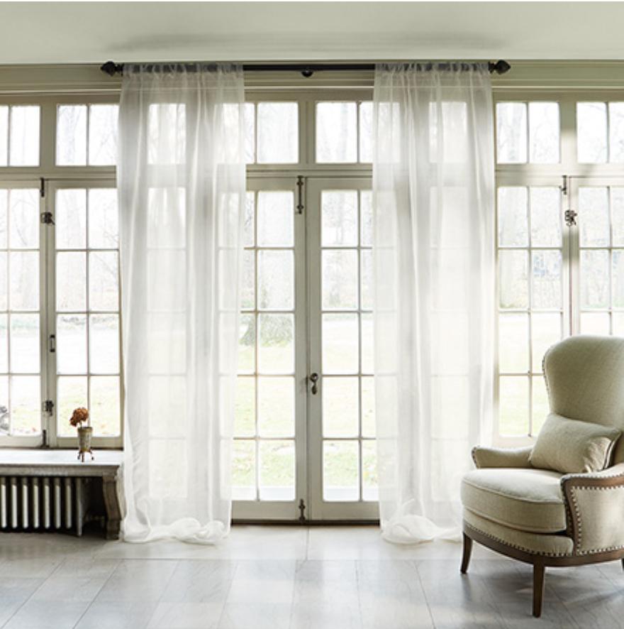 custom print decor white curtains