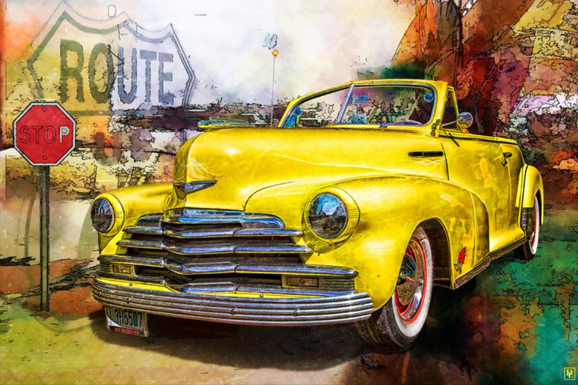 custom print decor yellow car artboja