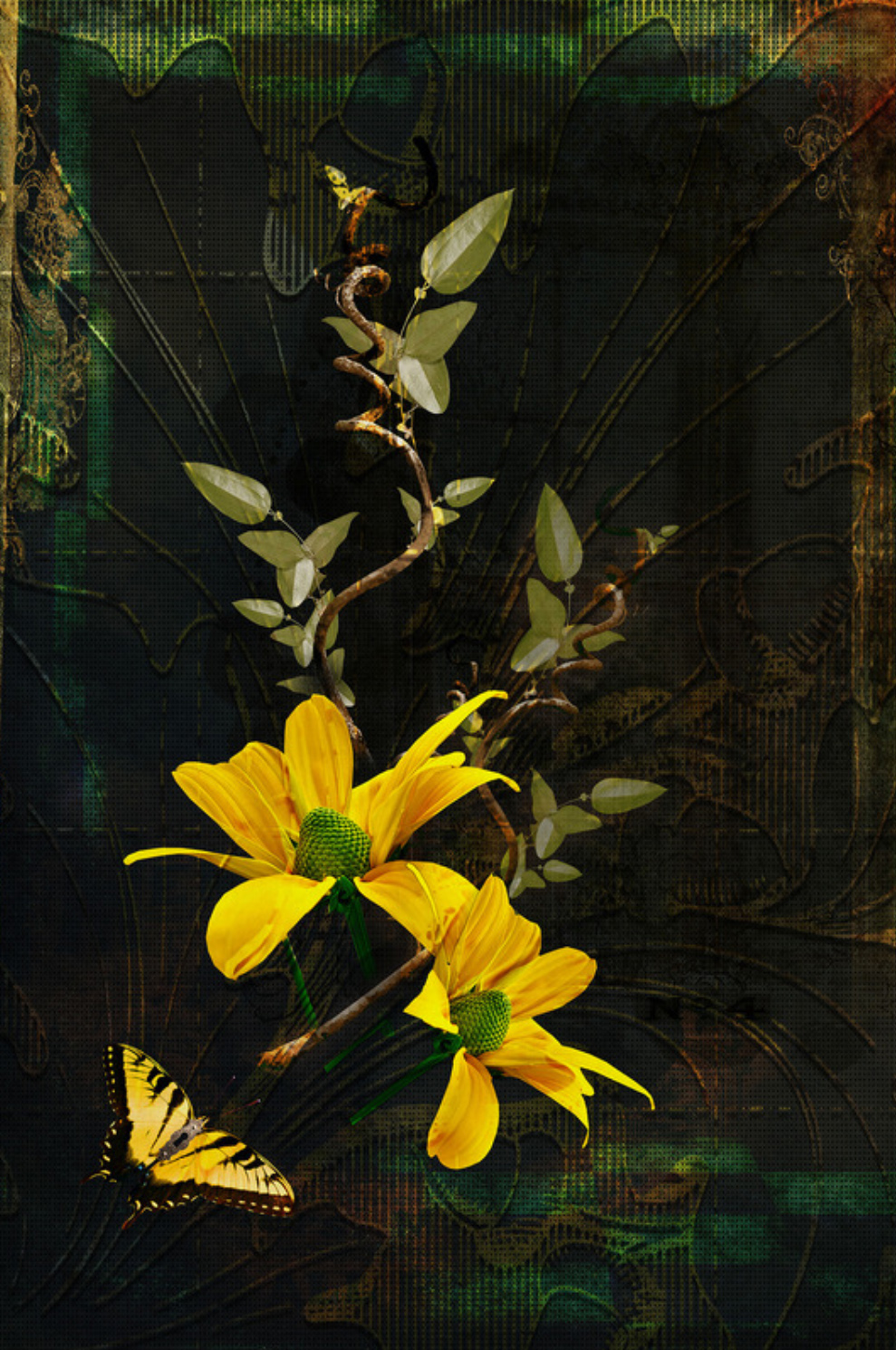 custom print decor yellow flower artboja
