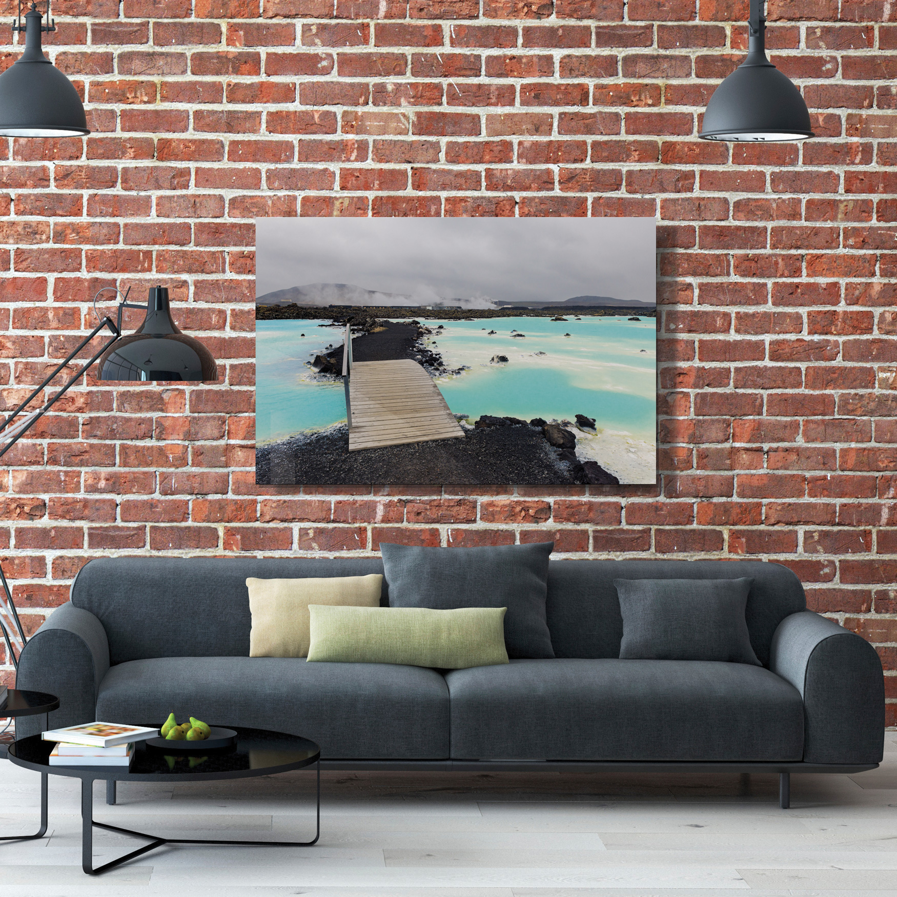 ChromaLuxe® dye sub metal picture of water and bridge over couch