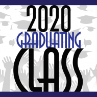 2020 Graduating Class with hands throwing caps graduating print graphics by Artisan