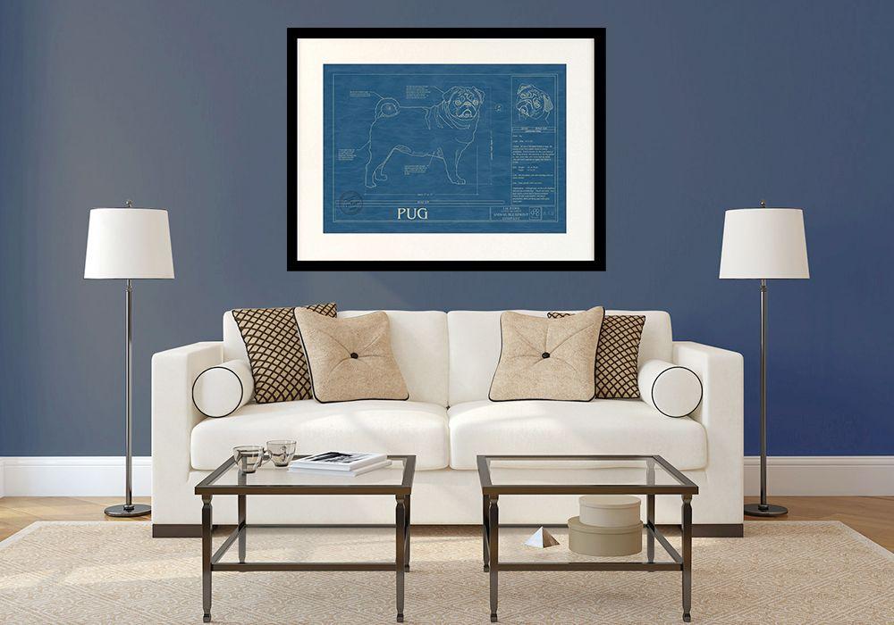 PUG Wall Art Blueprint Art