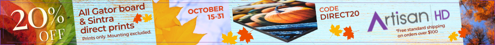 Checkout with Coupon Code DIRECT20 to Take 20% Off When You Print Directly to GatorBoard & Sintra During ArtisanHD 's Professional Photo Printing October Halloween Sale